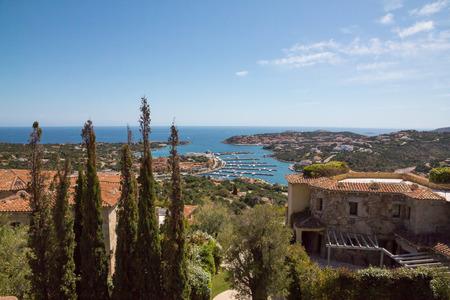 Costa Smeralda landscape with a view on Porto Cervo harbour. Sardinia island, Italy 版權商用圖片 - 124156148
