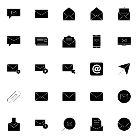 email, post, envelope, correspondence, postal icons set. e-mail solid icons. message thin icon vector illustration