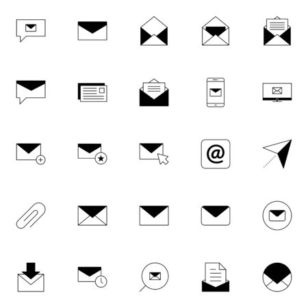 email, post, envelope, correspondence, postal icons set. e-mail solid line icons. message icon vector illustration