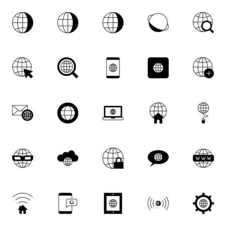 simple set of internet, browser, web solid line icons isolated on white background suitable for phone and web UI, software and app vector illustration.