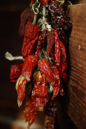 Bunch of Dried Red Hot Peppers Hanging on Wooden Wall