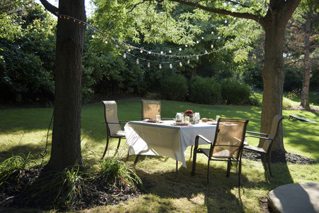 Outdoor Picnic Table in Backyard in Summer with Party Lights Imagens