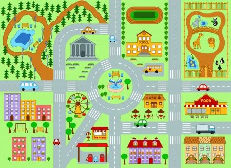 escuela edificio: Un vector de imagen de mapa de la ciudad para los ni�os