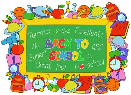 calendario escolar: Volver a la Escuela de texto en un tablero con los objetos del marco