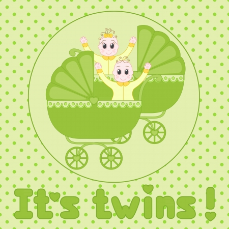 it s a girl: It s Twins baby shower announcement Illustration