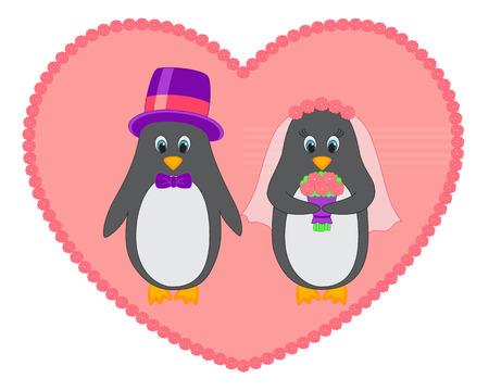 Vector image of penguin wedding Vector