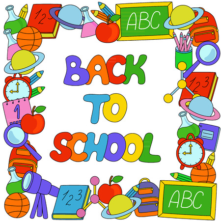 apple border: Back to School text with objects border Illustration