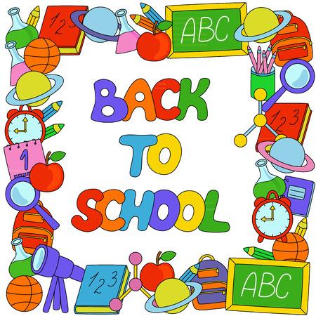calendario escolar: Volver a la Escuela de texto con objetos frontera Vectores