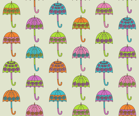 Colorful umbrella seamless pattern Vector