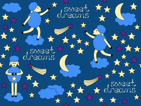 Sweet Dreams Bedtime vector seamless pattern Vector