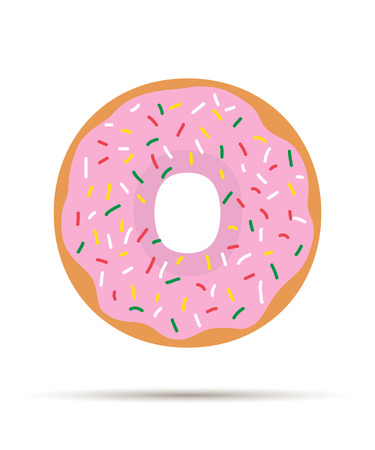 frosting: Donut with Pink Frosting and Sprinkles - vector illustration