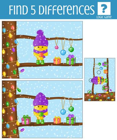 lógica: Encuentra las diferencias juego de lógica para los niños. Tema de Navidad de invierno. Vectores