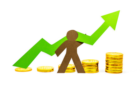 holding aloft: Money Graph pointing upwards with person supporting it Stock Photo