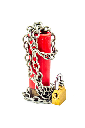 ceasefire: Ceasefire - bullet chained with padlock vertical