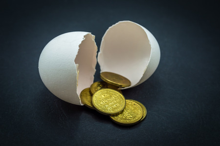 coins shot in golden color: Egg shells and money coins in a black background