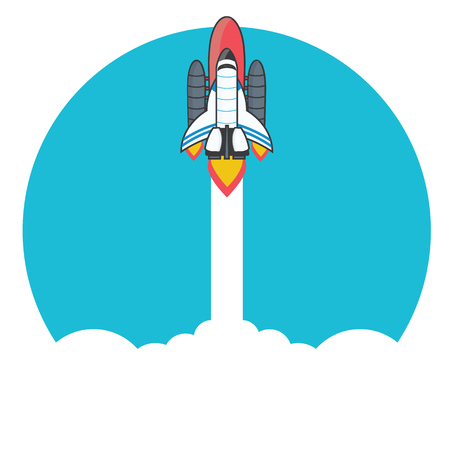 rocket launching vector images with clouds