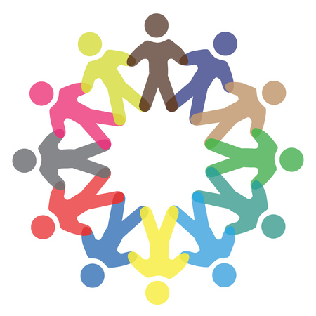 in unison: Concept vector graphic- colorful school children icons ( signs ) as ring. The illustration represents concepts like workers, employee diversity, community friendship & sharing, children playing