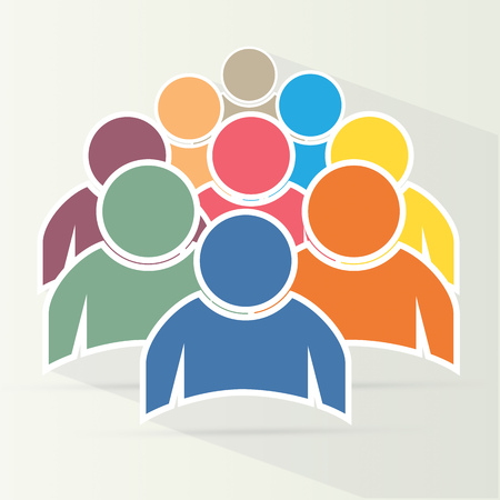 equal opportunity: Illustration of crowd of people - icon silhouettes vector. Social icon. Flat style design