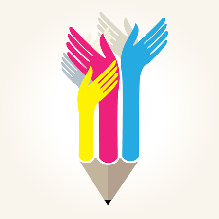writ: pencil with hands - educational concept