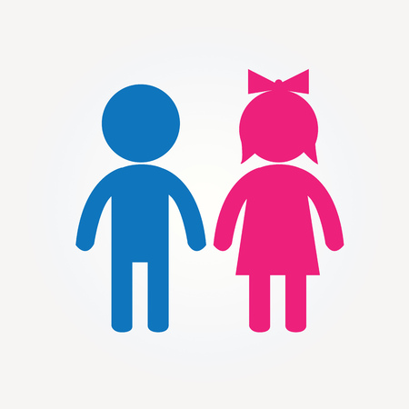 Pink girl et blue boy icon. Banque d'images - 73210721