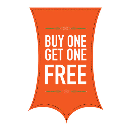 Buy One Get One Free banner design over a white background.