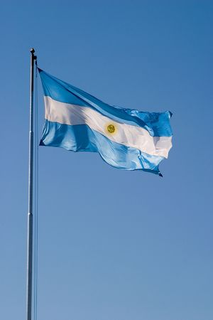 Argentine flag on a flagpole, blowing in the wind Stock Photo - 795602