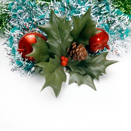 festividad: Christmas decoration with green leaves, apple and bunches of green pine needles on a white background.
