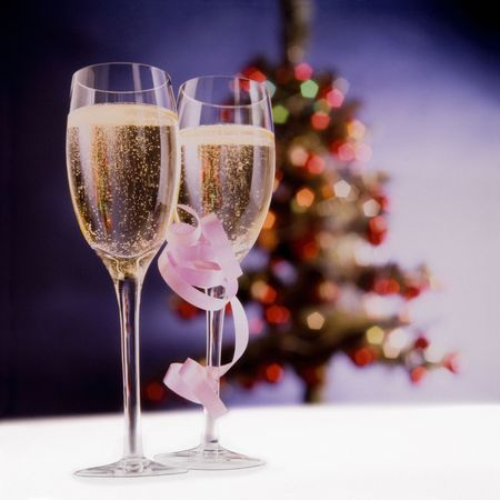 Glasses of Champagne to drink a Christmas toast.