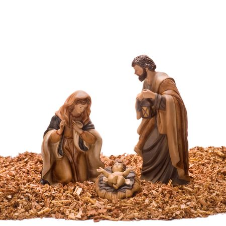 nativity background: Nativity scene, with ceramic figures photographed on a white background.