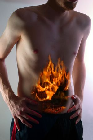 indigestion: Image representing a young man suffering heartburn.