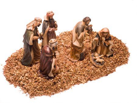 jesus mary joseph: Nativity scene, Jesus, Mary, Joseph and the Three Wise Men. Stock Photo