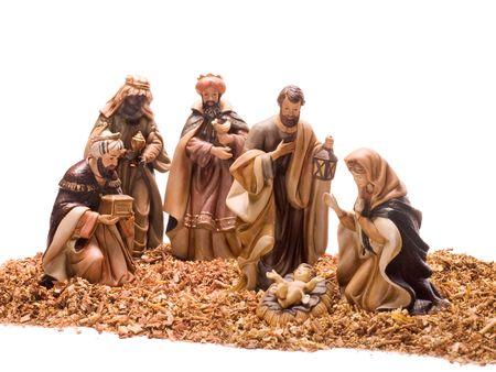 saint joseph: Nativity scene, Jesus, Mary, Joseph and the Three Wise Men. Stock Photo