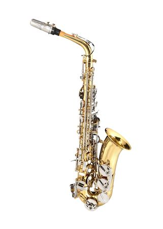 Tenor Sax, wind instrument. On a white background.
