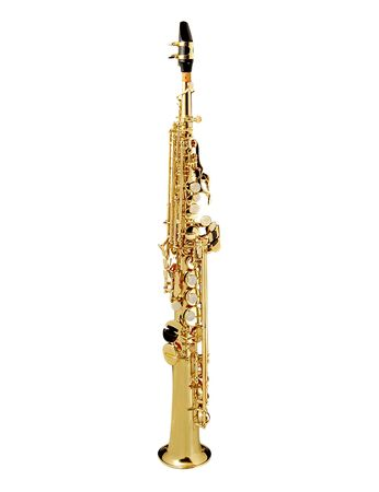 Soprano Sax, wind instrument. On a whithe background