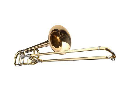 trombone: Brass slide trombone on a whithe background Stock Photo
