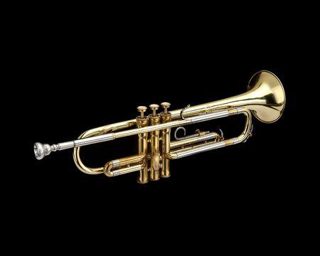 blaasinstrument: Trompet, blaasinstrument. Op een zwarte achtergrond.