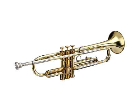 blaasinstrument: Trompet, blaas instrument. Op een whithe achtergrond.