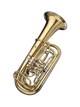 Tuba, wind instrument on a white background. Stock Photo