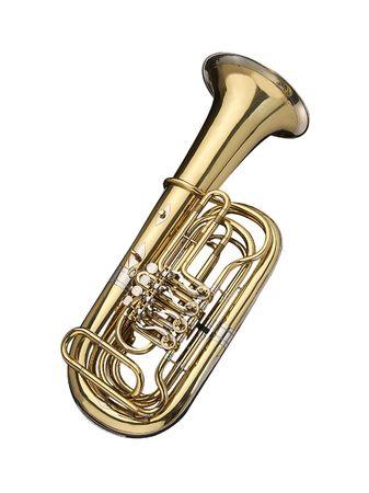 blaasinstrument: Tuba, wind instrument op een witte achtergrond.