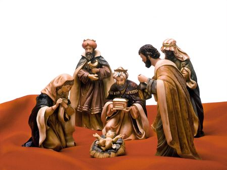 Nativity scene, Jesus, Mary, Joseph and the Three Wise Men. Stock Photo