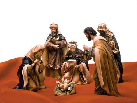 reyes magos: Pesebre, Jes�s, Mar�a, Jos� y los Reyes Magos. Foto de archivo