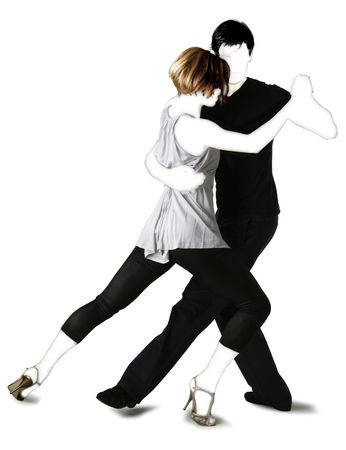 Young couple dancing Tango in the street photo