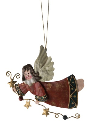 Tinplate Angel, Christmas tree ornaments, isolate on a white background.