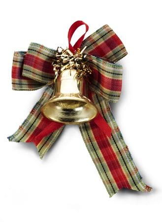 Christmas decoration with a bell, and colored tape, isolated on white. photo