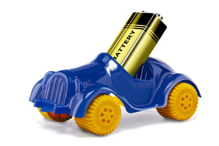Toy car and a battery to simulate an electric car Stock Photo