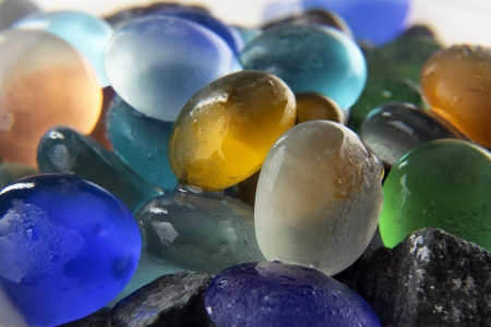 Group colored stones wet with water