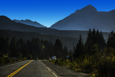 Mountain landscape at sunrise on Route 40. Bariloche Patagonia Argentina