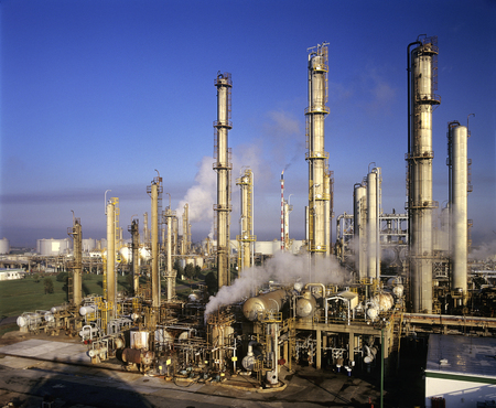 Oil refinery, birds eye view
