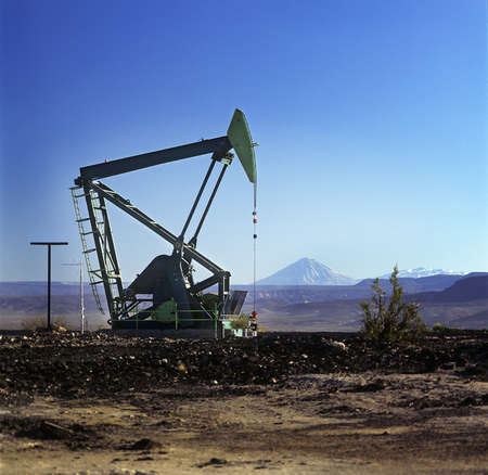 barrel bomb: Extraction pump in an oil field, Patagonia, Argentina Stock Photo