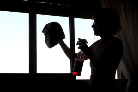Womans silhouette cleaning the glasses of a window.